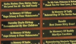 Tribute plaques in support of the Groton Animal Foundation